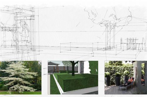 Gartenskizze mit Materialbeispielen von Freiformat Garten- und Landschaftsbau, Goch